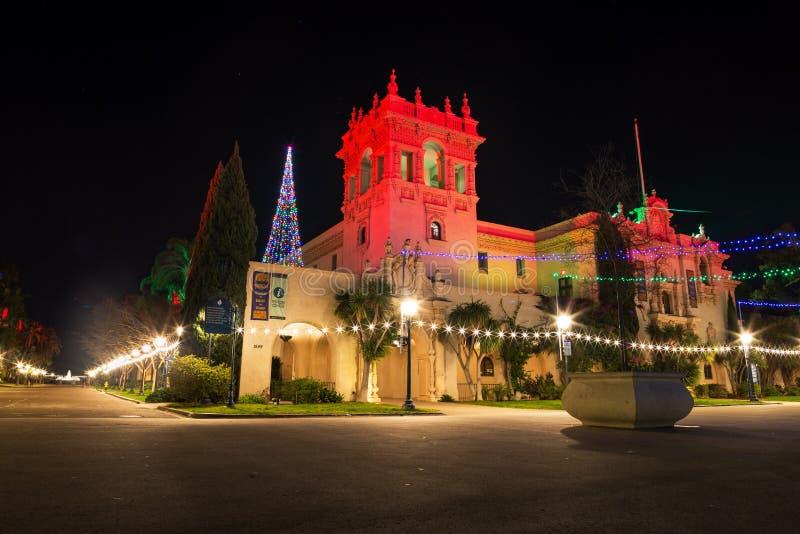 Bożonarodzeniowe światła w balboa parku zdjęcie stock