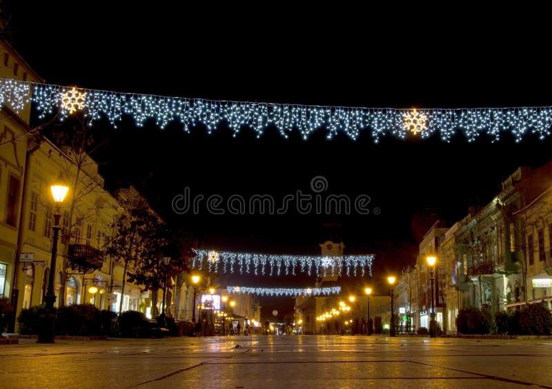 Bożonarodzeniowe światła w mieście zdjęcie stock