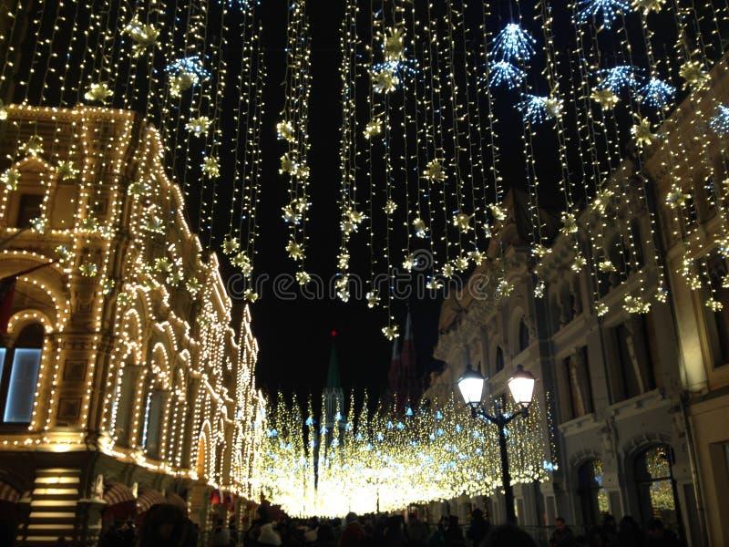 Bożonarodzeniowe światła w Moskwa, Rosja zdjęcia stock