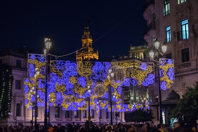 Bożonarodzeniowe Światła w Seville zdjęcie stock