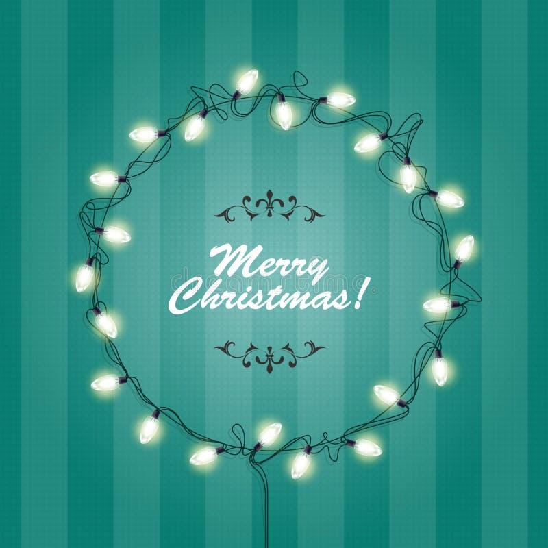 Bożonarodzeniowe Światła wianku rama - round świąteczni światła ilustracja wektor