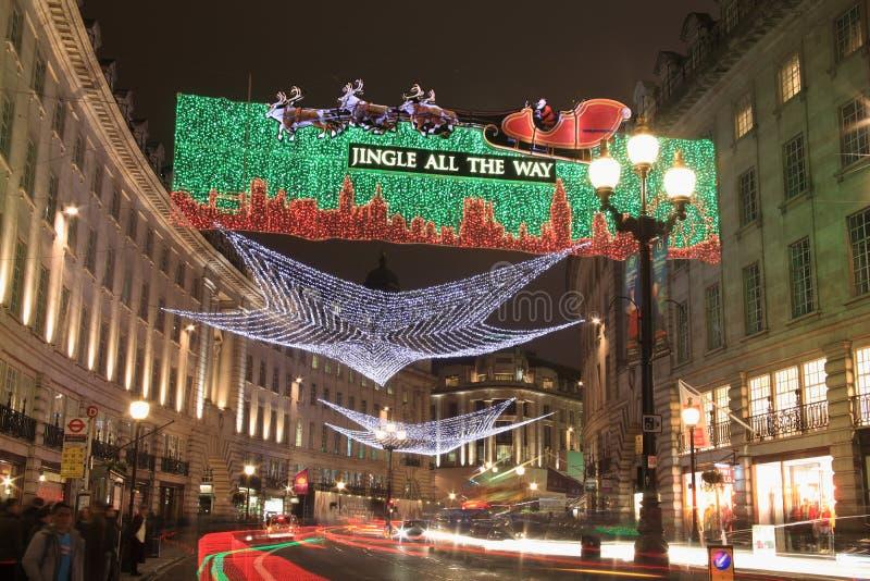Bożonarodzeniowe światła wzdłuż Regent Ulicy obrazy royalty free