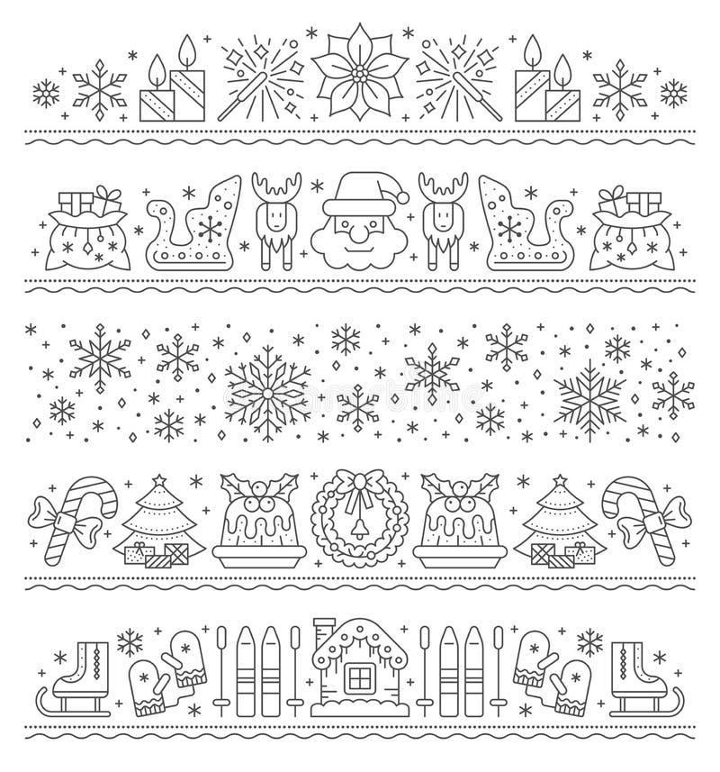 Bożonarodzeniowe obramowanie bez szwu wektorowe ilustracji