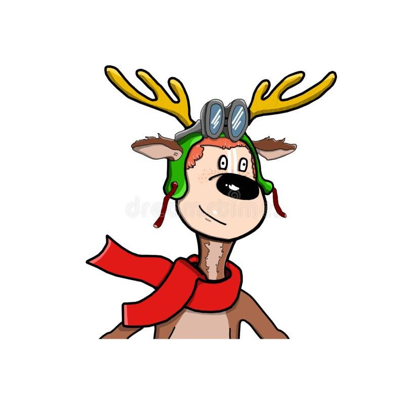 Bożonarodzeniowy Renifer jelenia Bożego Narodzenia. Słodka i zabawna postać Jelenie royalty ilustracja