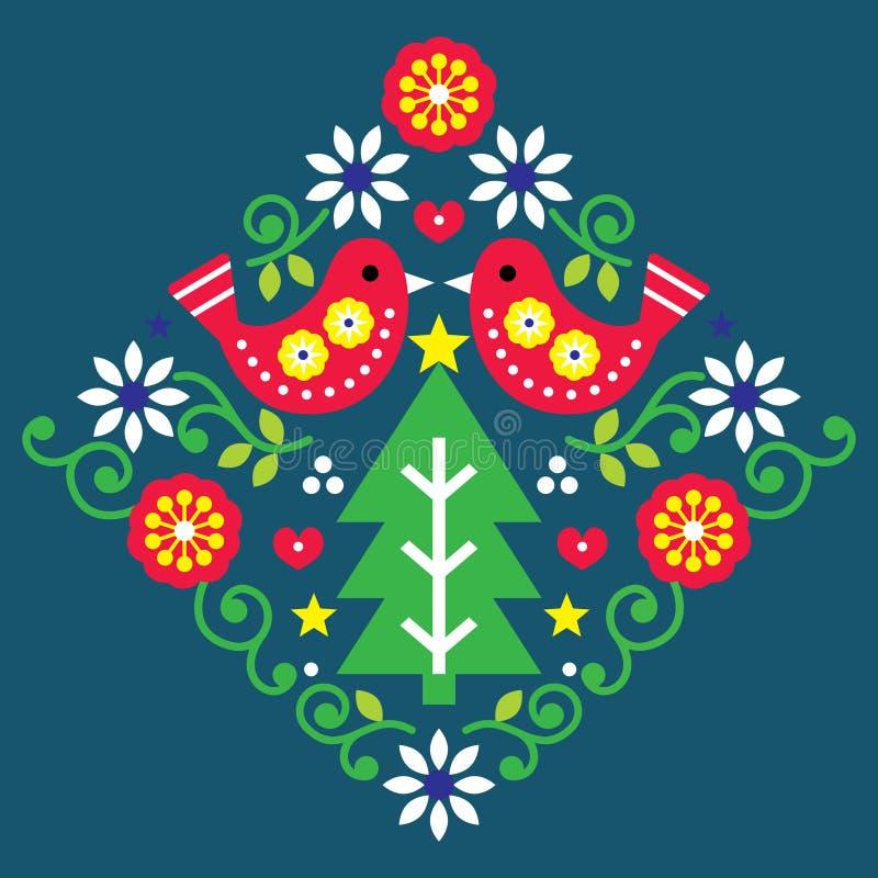 Bożonarodzeniowy wektor sztuki ludowej z ptakami i kwiatami w czerwonej i zielonej, świątecznej skandynawskiej kartce powitalnej ilustracja wektor