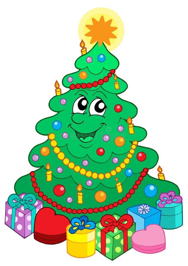 bożych narodzeń ślicznego prezenta uśmiechnięty drzewo ilustracji