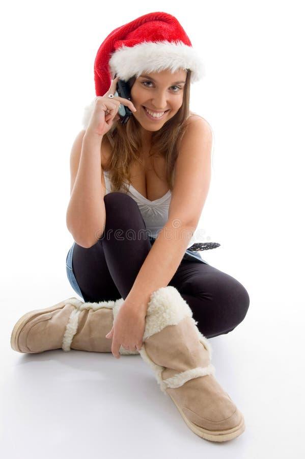 bożych narodzeń żeńskiej kapeluszowej wiszącej ozdoby target2109_0_ target2110_0_ zdjęcia stock