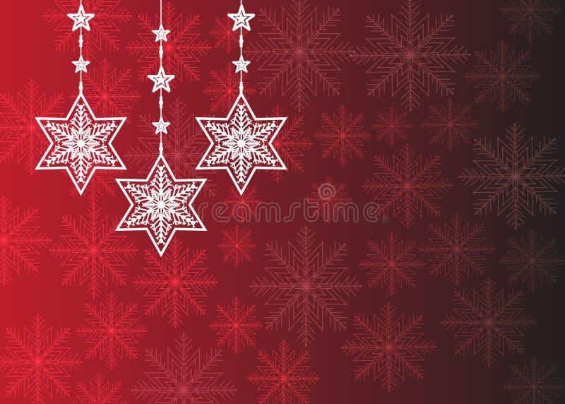 Bożych Narodzeń życzenia, łęk z gwiazdami i śnieg, tło Świętowanie, Claus ilustracja wektor