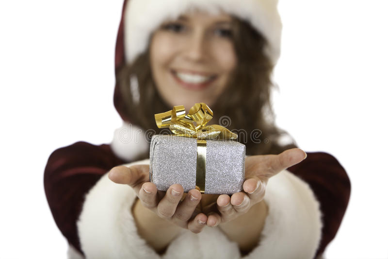 bożych narodzeń Claus prezent Santa uśmiechniętych kobiety potomstwa obrazy royalty free