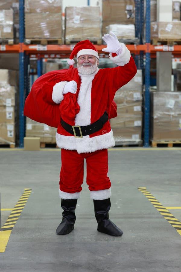 bożych narodzeń Claus przygotowywający Santa falowanie fotografia stock