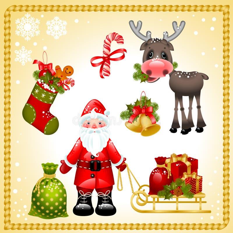 bożych narodzeń Claus Santa set royalty ilustracja