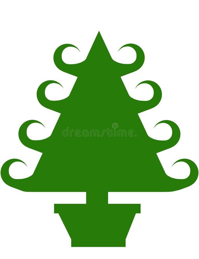 bożych narodzeń curley zieleni garnka drzewo ilustracja wektor