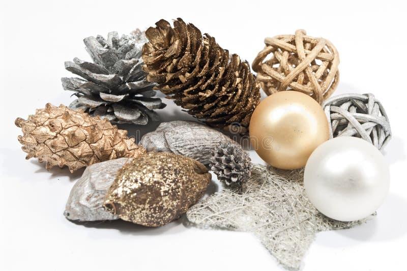 bożych narodzeń dekoraci złota srebro zdjęcie stock