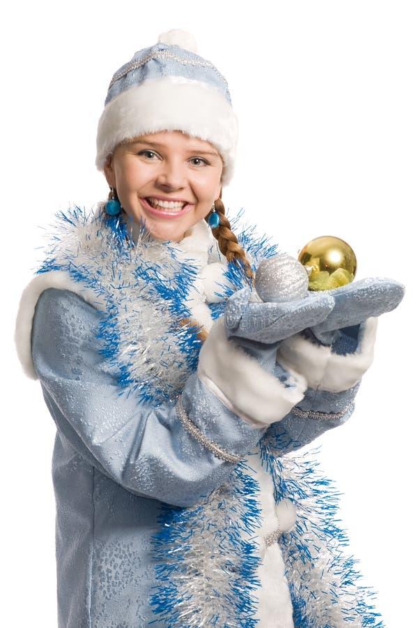 bożych narodzeń dekoracj dziewczyny śniegu drzewo fotografia royalty free