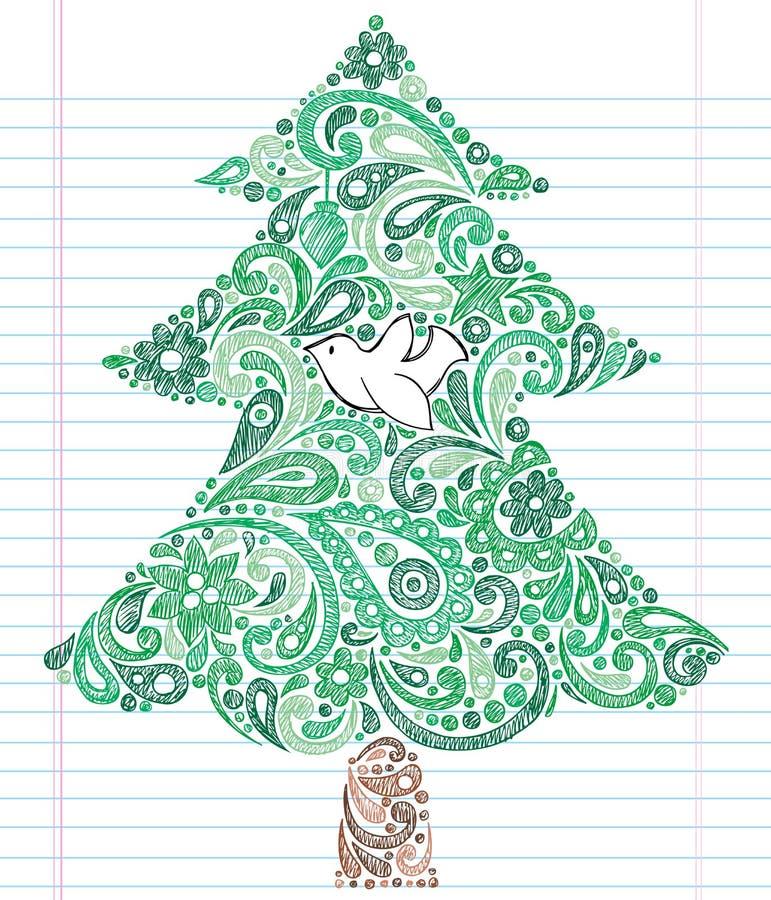 bożych narodzeń doodle rysujący ręki szkicowy drzewo ilustracja wektor