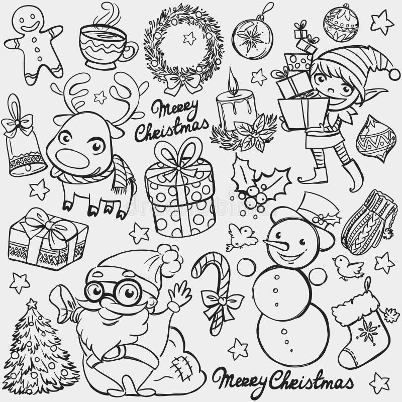 Bożych Narodzeń doodles ilustracja wektor