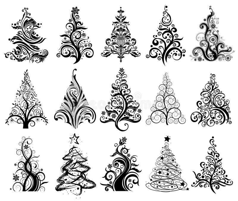 bożych narodzeń drzewa luksusowi ustaleni royalty ilustracja