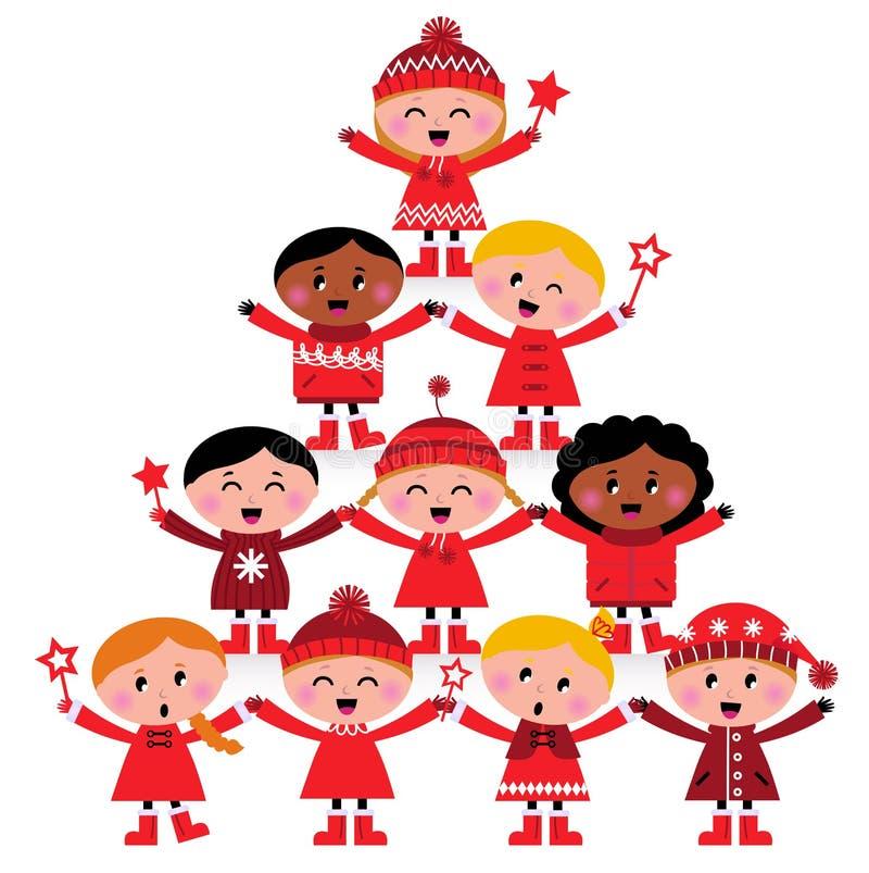 bożych narodzeń dzieciaków wielokulturowy drzewo ilustracja wektor