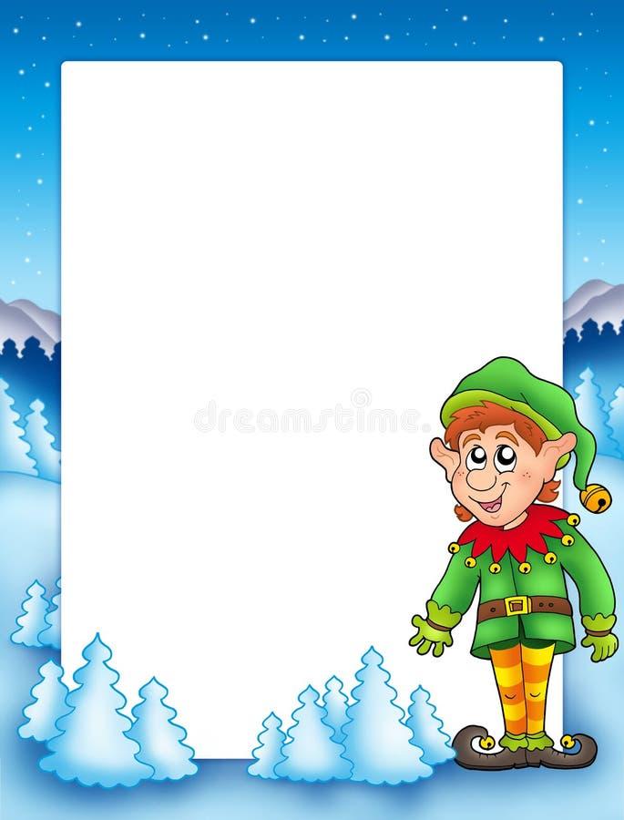 bożych narodzeń elfa rama ilustracja wektor