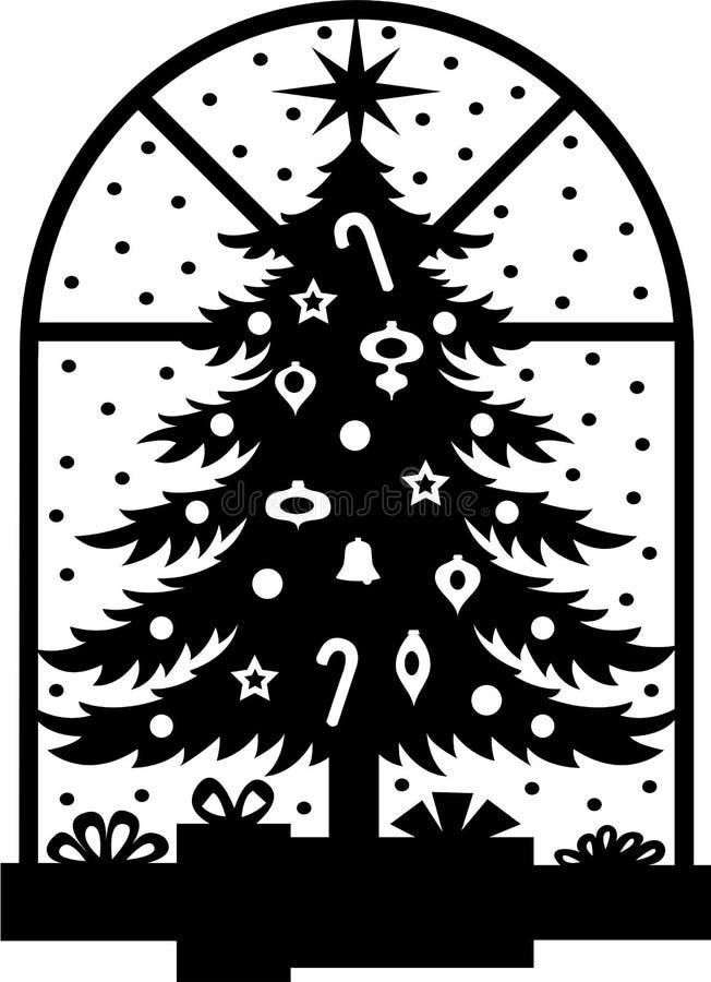 Bożych Narodzeń Eps Sylwetki Drzewo Fotografia Royalty Free