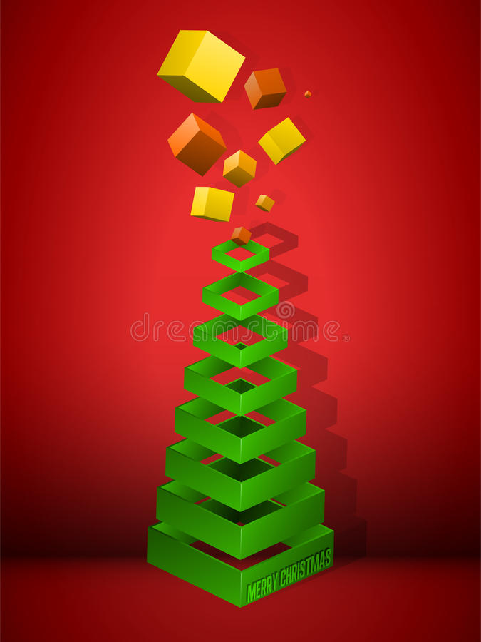 bożych narodzeń geometryczny prezentów ostrosłupa drzewo ilustracja wektor