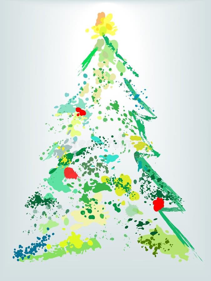 bożych narodzeń grunge wakacyjny farby splatter drzewo ilustracji