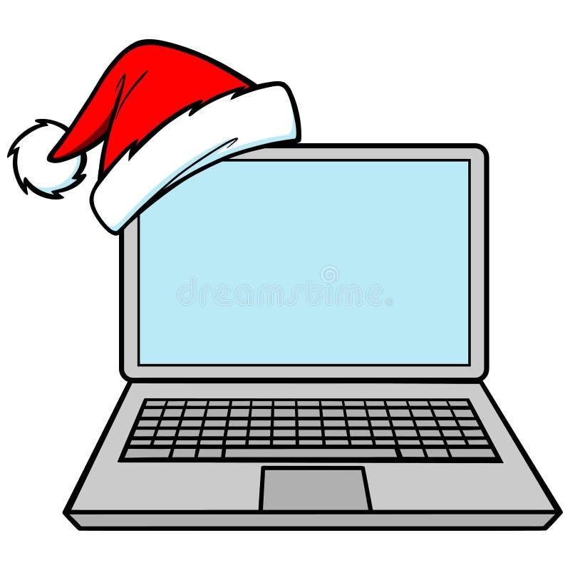 bożych narodzeń ikony laptopu sprzedaże ilustracja wektor