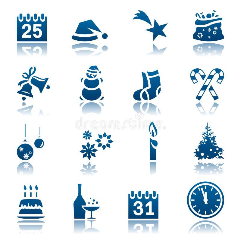 bożych narodzeń ikony nowy ustalony rok royalty ilustracja