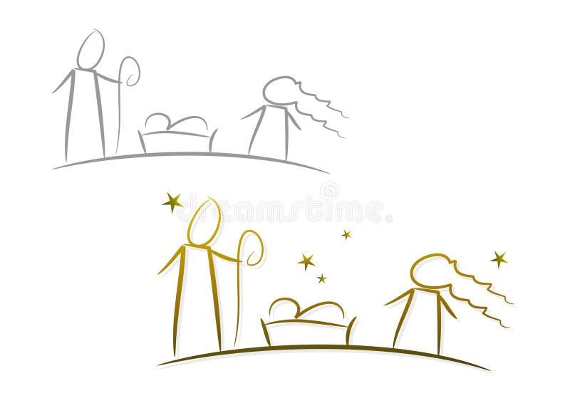 bożych narodzeń ilustracyjny narodzenia jezusa noc set ilustracja wektor
