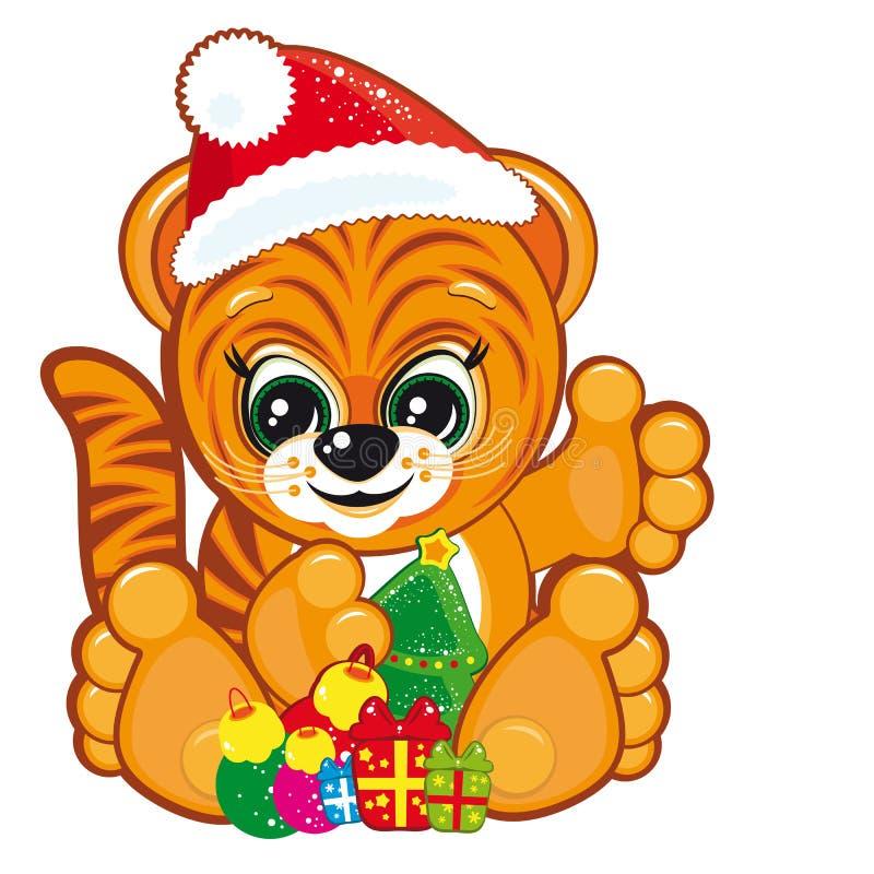 Download Bożych Narodzeń Kapeluszowy Santa Tygrysa Drzewo Ilustracja Wektor - Ilustracja złożonej z układ, chińczyk: 13340302