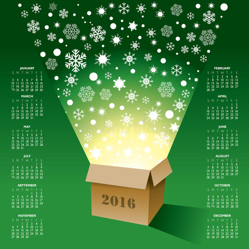 2016 bożych narodzeń Kreatywnie kalendarz royalty ilustracja