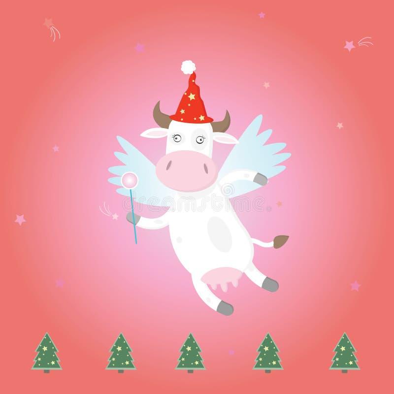 bożych narodzeń krowy czarodziejki magia royalty ilustracja