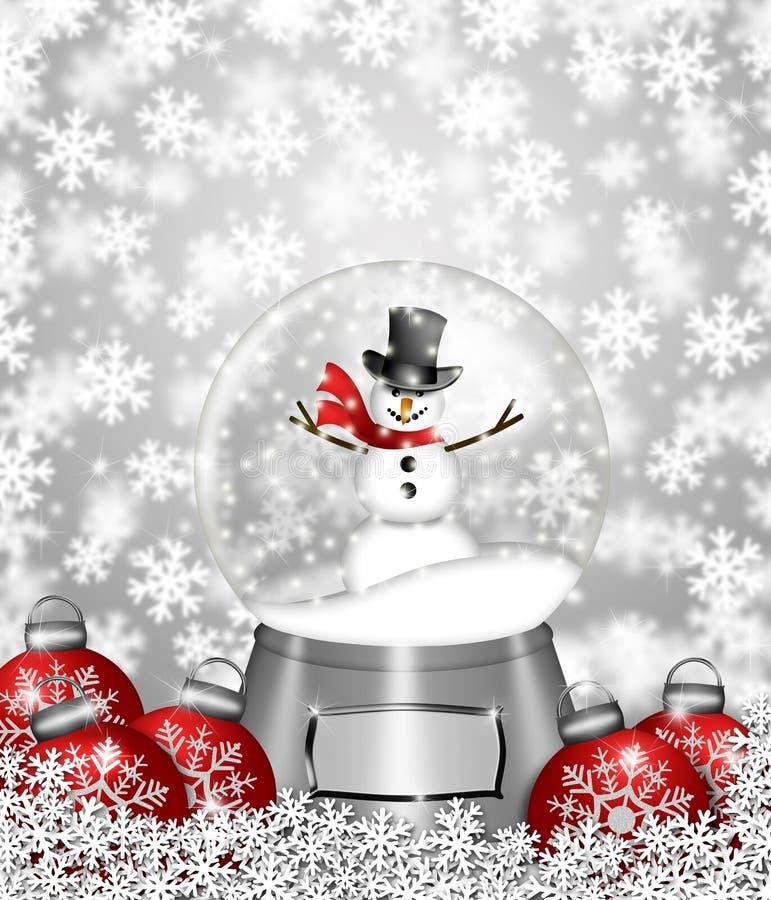 bożych narodzeń kuli ziemskiej ornamentów śnieżny bałwanu drzewo royalty ilustracja
