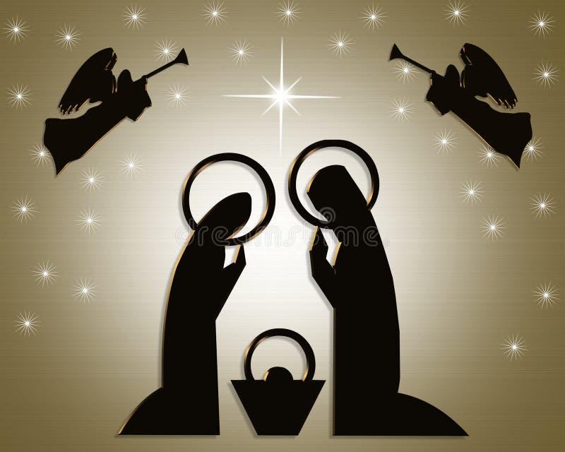 bożych narodzeń narodzenia jezusa scena royalty ilustracja