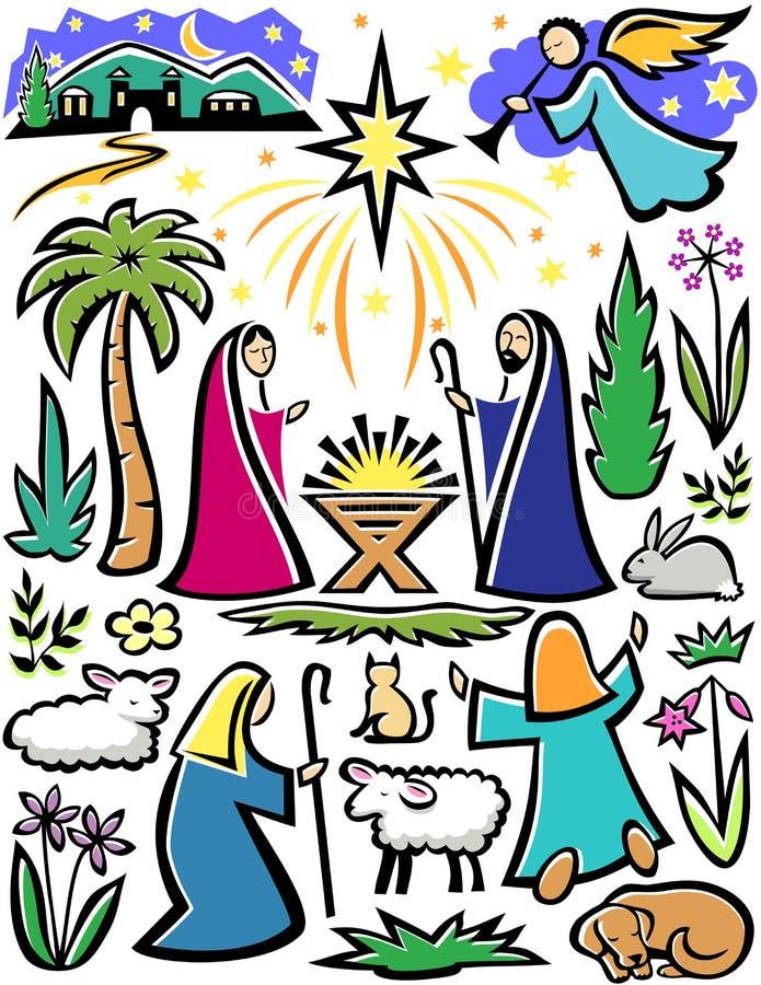 bożych narodzeń narodzenia jezusa set ilustracja wektor
