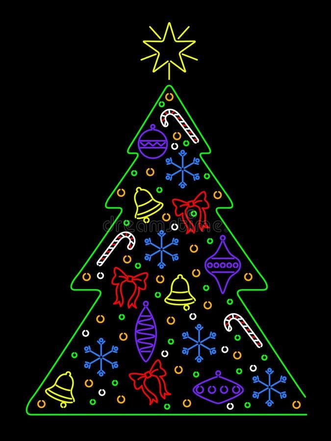 bożych narodzeń neon drzewo ilustracja wektor