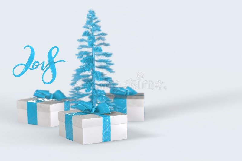 2018 bożych narodzeń nowego roku literowanie z kolorowymi prezentów pudełkami z łękami faborki i choinka na białym tle royalty ilustracja