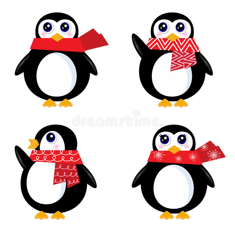 bożych narodzeń pingwinu retro set ilustracji