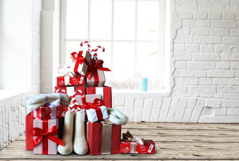 bożych narodzeń prezentów nowy rok obrazy royalty free