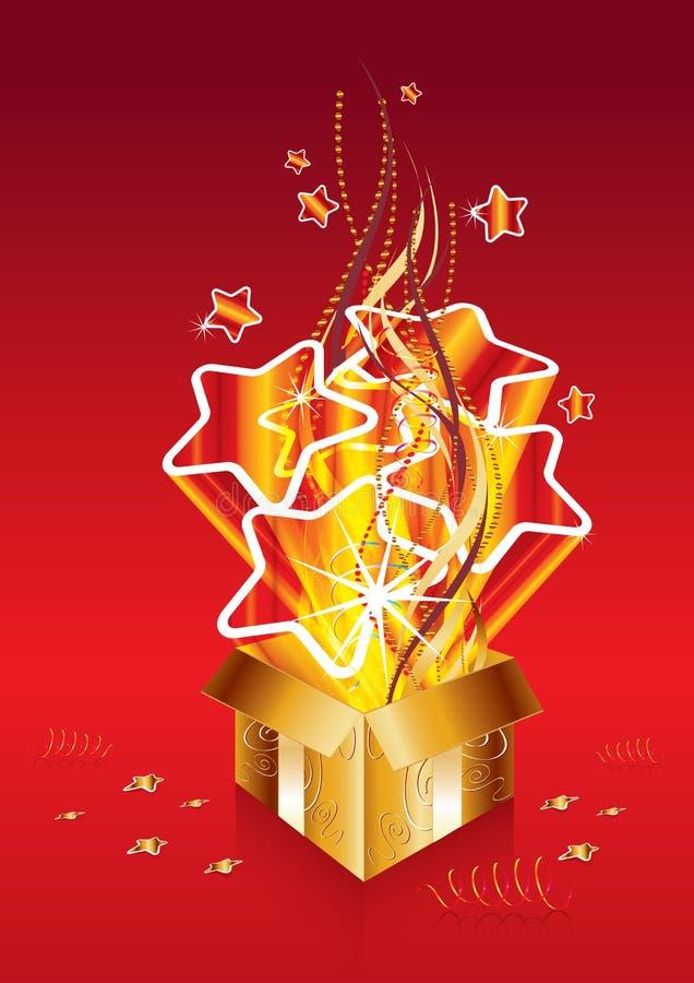 bożych narodzeń prezenta złota niespodzianka royalty ilustracja