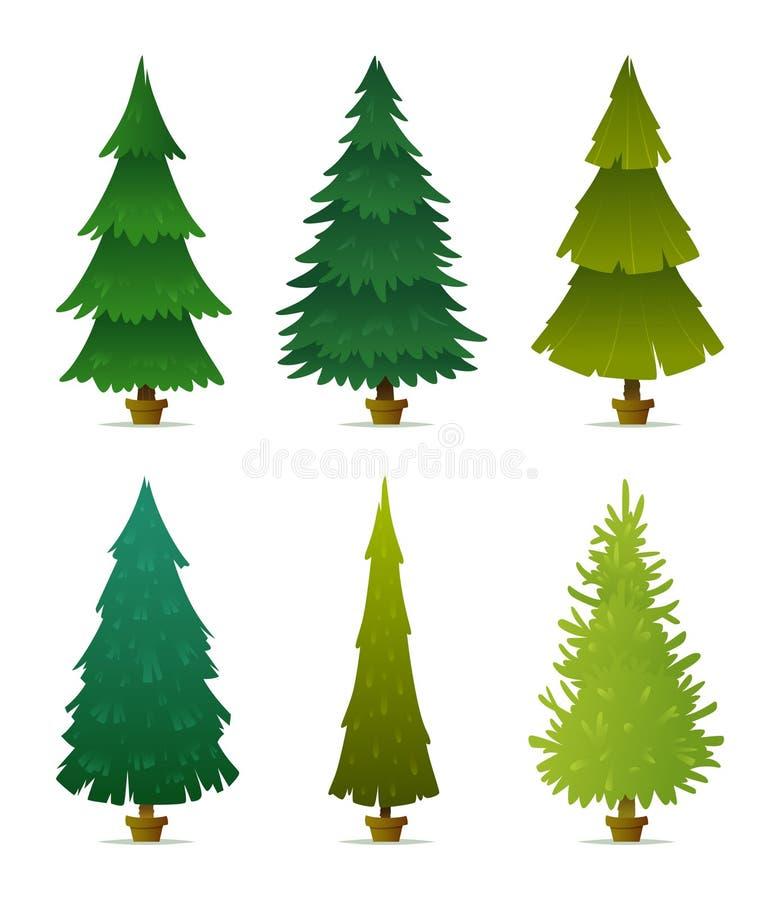bożych narodzeń projekta elementy ustawiający drzewo Kolekcja różne formy, kształty jodły, świerczyna i sosny, ilustracji