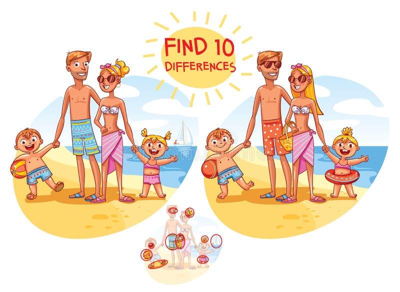 10 bożych narodzeń różnic znaleziska teraźniejszość kos saneczkują bałwany dwa Szczęśliwa rodzina na wakacje ilustracja wektor