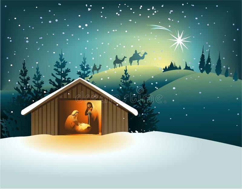 bożych narodzeń rodzinna święta narodzenia jezusa scena ilustracja wektor