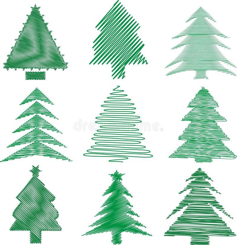 bożych narodzeń skrobaniny drzewa royalty ilustracja