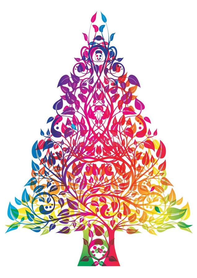 bożych narodzeń tęczy drzewo ilustracja wektor