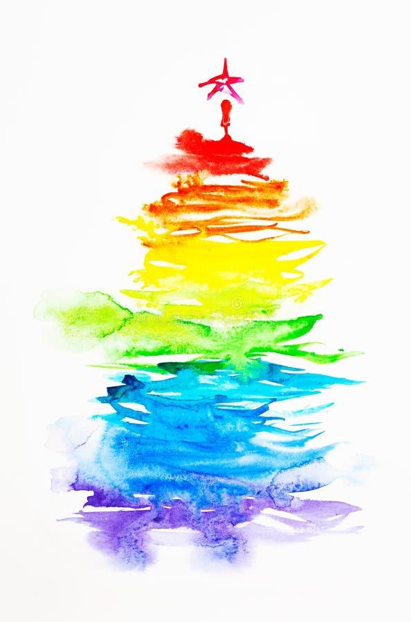 bożych narodzeń tęczy drzewo ilustracji