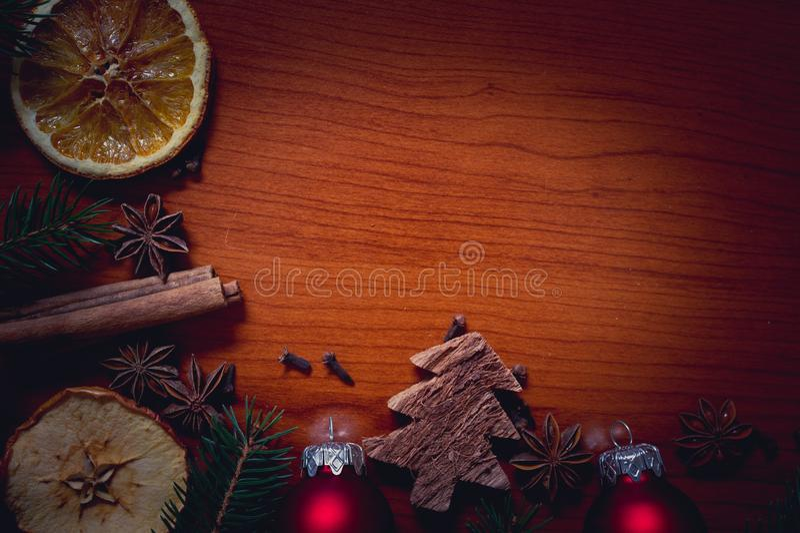 Bożych Narodzeń wciąż życie z owoc i pikantność fotografia royalty free