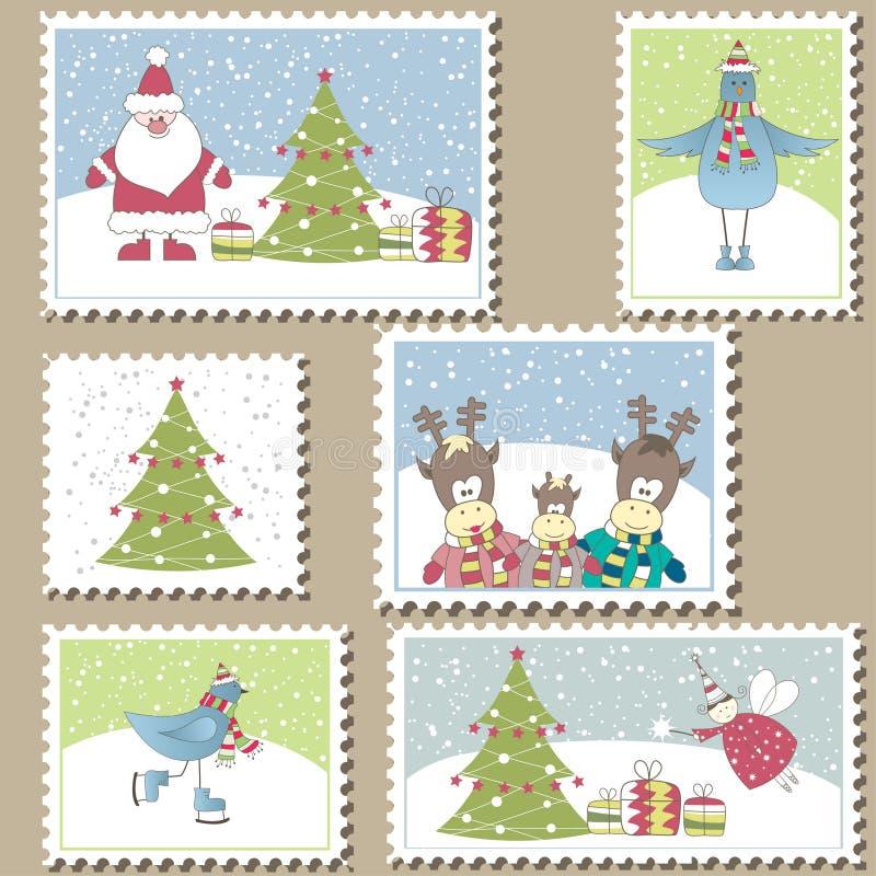 bożych narodzeń znaczek pocztowy ilustracja wektor