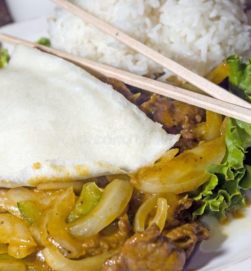 bo用咖哩粉调制食物越南语 库存图片