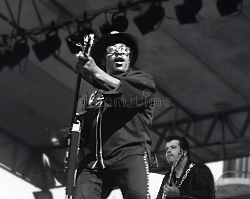 Bo Diddley at 1979 ChicagoFest. Singer, guitarist, songwriter, and music producer Bo Diddley cuts loose at a Rock and Roll Spectacular during ChicagoFest at the royalty free stock photos